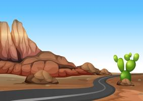 Aardscène met lege weg in woestijnland