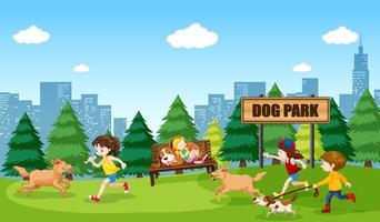 Mensen en honden bij hondenpark vector