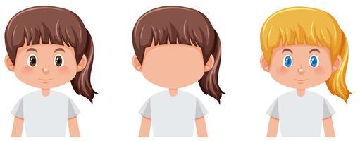 Set van meisje met diffrent haarkleur