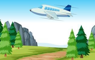 Vliegtuig die over hout vliegen