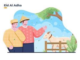 vectorillustratie van moslimmensen die offerdieren van boeren kopen om eid al adha te vieren. geschikt voor spandoek, poster, wenskaart, website, flyer, boek vector