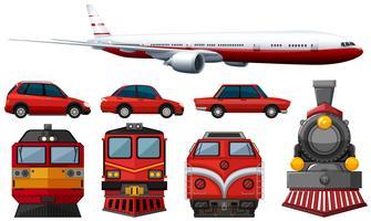 verschillende soorten voertuigen in rode kleur