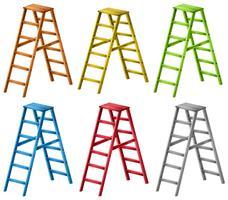 Ladders in zes verschillende kleuren