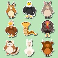Stickerontwerp met vele dieren op groene achtergrond