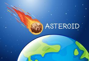 Asteroïde die in de ruimte vliegt vector