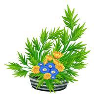 Versierde bloemen in de kom vector
