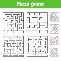 een reeks vierkante doolhoven van verschillende moeilijkheidsgraden. puzzel voor kinderen. een ingangen, een uitgang. labyrint raadsel. platte vectorillustratie geïsoleerd op een witte achtergrond. met antwoord. vector