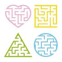 een reeks gekleurde lichte doolhoven. cirkel, vierkant, driehoek, hart. spel voor kinderen. puzzel voor kinderen. een ingangen, een uitgang. labyrint raadsel. platte vectorillustratie geïsoleerd op een witte achtergrond. vector