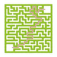 vierkant labyrint van tuinstruiken. spel voor kinderen. puzzel voor kinderen. één ingang, één uitgang. labyrint raadsel. platte vectorillustratie. met antwoord. met plaats voor uw afbeelding. vector