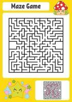 abstracte vierkante doolhof. werkbladen voor kinderen. spel puzzel voor kinderen. schattige ster en paddestoel. een ingangen, een uitgang. labyrint raadsel. vectorillustratie. met antwoord. vector
