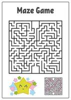 abstracte vierkante doolhof. werkbladen voor kinderen. spel puzzel voor kinderen. grappige ster en paddestoel op een witte achtergrond. een ingangen, een uitgang. labyrint raadsel. vectorillustratie. met het antwoord. vector