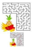abstracte vierkante doolhof. spel voor kinderen. puzzel voor kinderen. een ingangen, een uitgang. labyrint raadsel. vectorillustratie op witte achtergrond met cartoon afbeelding. met antwoord. vector