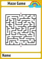 abstracte vierkante doolhof. werkbladen voor kinderen. spel puzzel voor kinderen. grappige regenboog op een gekleurde achtergrond. een ingangen, een uitgang. labyrint raadsel. vectorillustratie. met plaats voor naam. vector