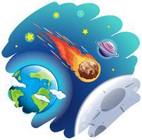 Komeet gaat de aarde voorbij vector