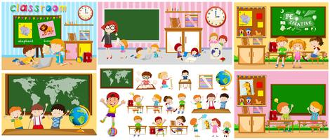 Verschillende scènes van klaslokalen met kinderen vector