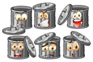 Trashcan met gezichtsuitdrukkingen vector