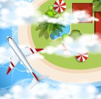 Vliegtuig die over het park vliegen vector