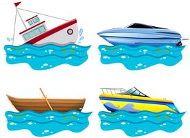 Vier verschillende soorten boten vector