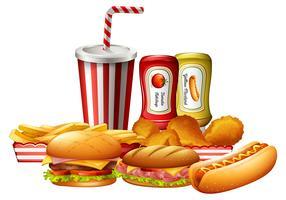 Een set ongezond fastfood