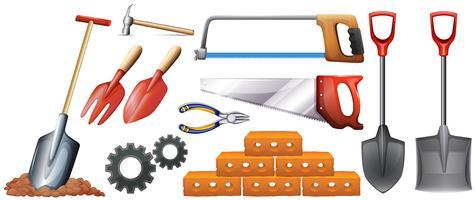 Verschillende soorten bouwgereedschap