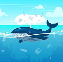 walvis in de oceaan met plastic afval platte vectorillustratie. milieuvervuiling probleem. ecologische ramp. waterverontreiniging, natuurschade. zeedier in zee stripfiguur vector