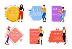 modeontwerper egale kleur vector offerte tekenset. individueel maatwerk. succesvolle vrouwen. moderne trendsetters. citaat leeg frame sjabloon. spraak bubbel. offerte leeg tekstvak ontwerp