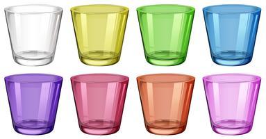 Set van glazen in verschillende kleuren