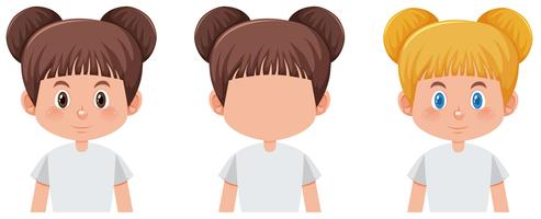 Set van meisje karakter