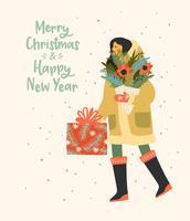 Kerstmis en gelukkig Nieuwjaar illustratie whit mensen. Trendy retro-stijl.