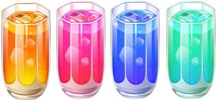 Vier glazen cocktail drinken vector