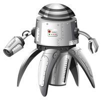 Een illustratie van een grijze robot