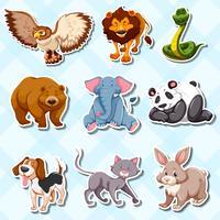 Sticker met veel wilde dieren vector