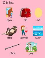 Veel woorden beginnen met letter O vector