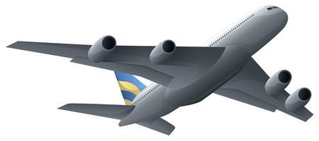 Vliegtuig die op witte achtergrond vliegen vector