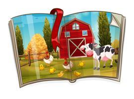 Boek met dieren in de boerderij scène