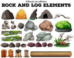 Rock en log elementen vector
