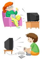 Mensen kijken tv en spelen spelletjes vector
