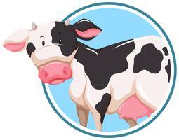 Een koe op stickersjabloon vector