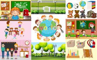 Schoolscènes met studenten in verschillende klaslokalen