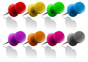 Pinnen in verschillende kleuren vector