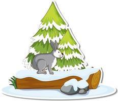 een haas met dennenboom bedekt met sneeuwsticker vector