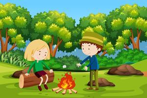 Jongen en meisje die bij bos kamperen vector