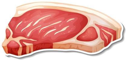 rauw vlees sticker op witte achtergrond vector