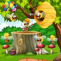 Bijen en bijenkorf in de boom vector