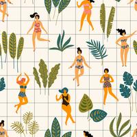 Vector naadloos patroon met dansende ladyes in zwempakken en tropische palmbladen.