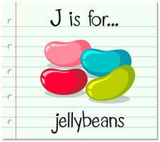 Flashcardletter J is voor jellybeans vector