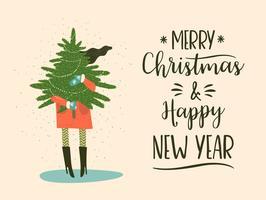 Kerstmis en gelukkig Nieuwjaar illustratie. Trendy retro-stijl.