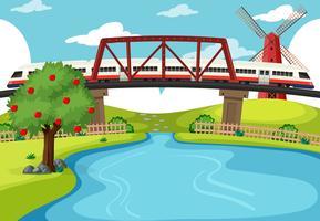 Trein die de rivierscène kruist vector