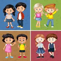 Leuke jongens en meisjes met vier achtergronden vector