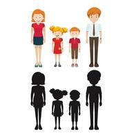 Familieleden in silhouet en gekleurd